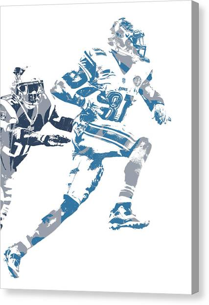 Detroit Lions Canvas Print - Calvin Johnson Detroit Lions Pixel Art 20 by Joe Hamilton