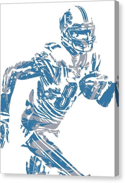 Detroit Lions Canvas Print - Calvin Johnson Detroit Lions Pixel Art 5 by Joe Hamilton