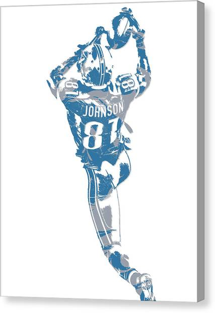 Detroit Lions Canvas Print - Calvin Johnson Detroit Lions Pixel Art 6 by Joe Hamilton