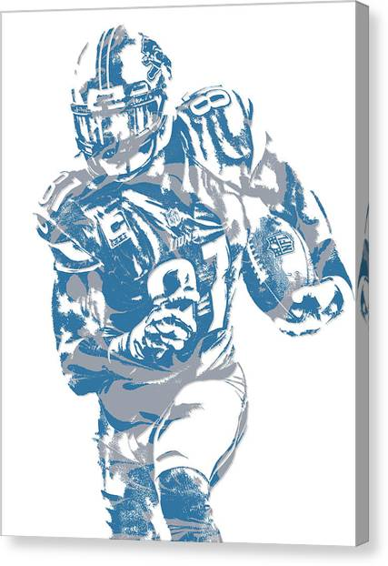 Detroit Lions Canvas Print - Calvin Johnson Detroit Lions Pixel Art 8 by Joe Hamilton