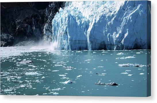 Margerie Glacier Canvas Print - Calving Again by Judy Wanamaker