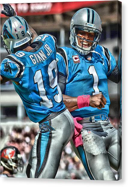 Cam Newton Canvas Print - Cam Newton Art 3 by Joe Hamilton
