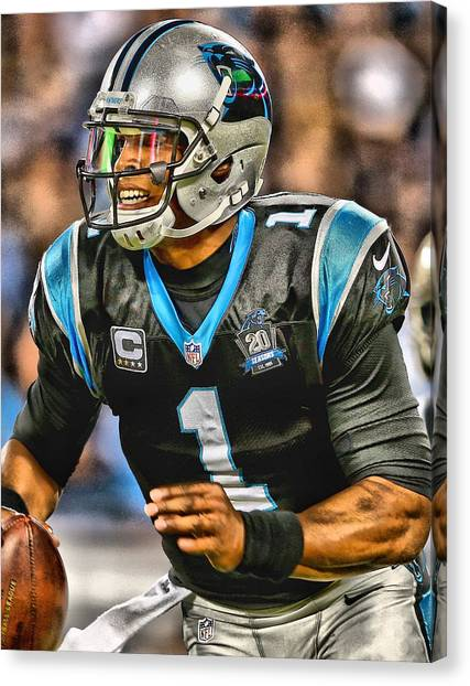 Cam Newton Canvas Print - Cam Newton Art 5 by Joe Hamilton