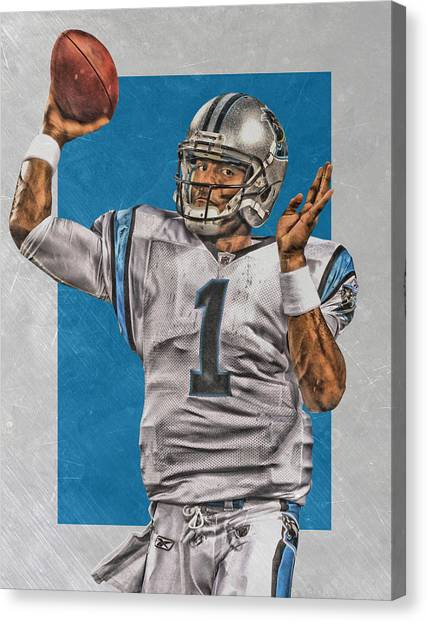 Cam Newton Canvas Print - Cam Newton Carolina Panthers Art 2 by Joe Hamilton