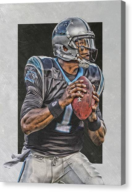 Cam Newton Canvas Print - Cam Newton Carolina Panthers Art by Joe Hamilton
