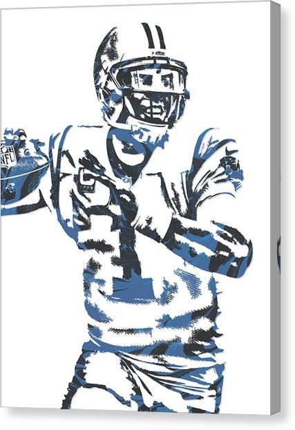 Carolina Panthers Canvas Print - Cam Newton Carolina Panthers Pixel Art 11 by Joe Hamilton