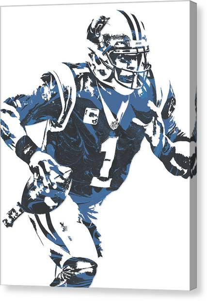Carolina Panthers Canvas Print - Cam Newton Carolina Panthers Pixel Art 12 by Joe Hamilton