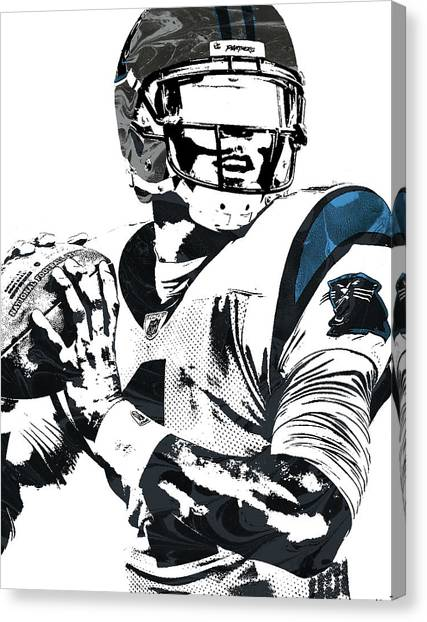 Cam Newton Canvas Print - Cam Newton Carolina Panthers Pixel Art 3 by Joe Hamilton
