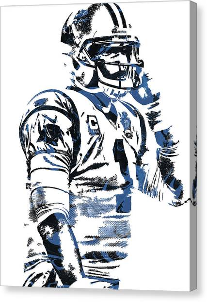 Cam Newton Canvas Print - Cam Newton Carolina Panthers Pixel Art 5 by Joe Hamilton
