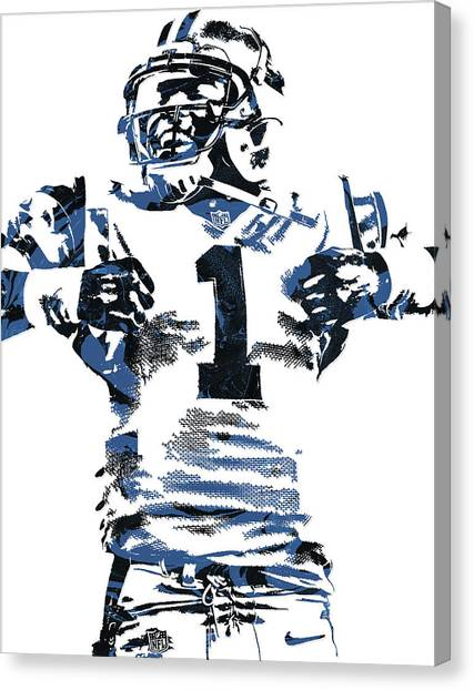 Cam Newton Canvas Print - Cam Newton Carolina Panthers Pixel Art 6 by Joe Hamilton