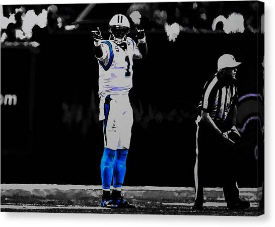 Cam Newton Canvas Print - Cam Newton First And Ten by Brian Reaves