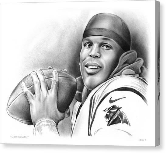 Nfl Canvas Print - Cam Newton by Greg Joens