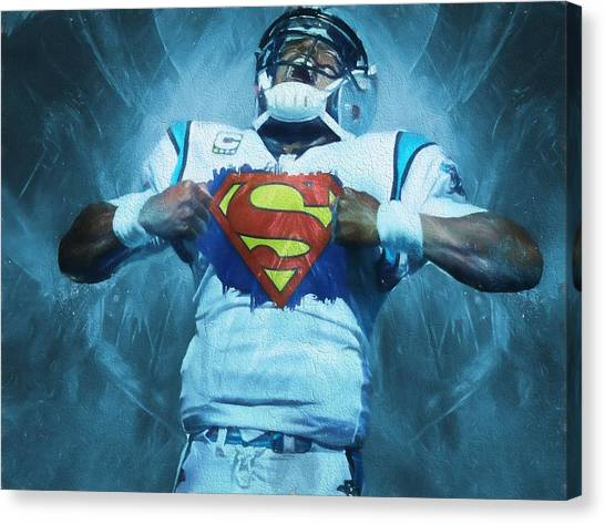 Cam Newton Canvas Print - Cam Newton Superman by Dan Sproul