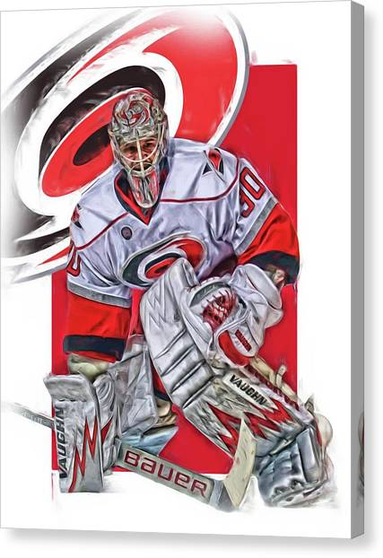 Carolina Hurricanes Canvas Print - Cam Ward Carolina Hurricanes Oil Art by Joe Hamilton