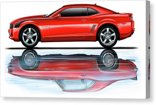 Camaro 2010 Reflects Old Red Canvas Print by David Kyte