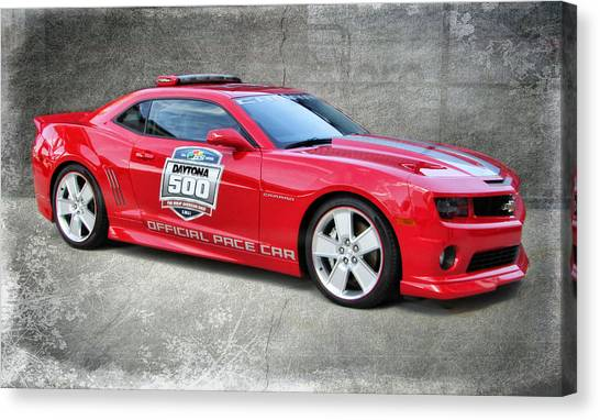 Daytona 500 Canvas Print - Camaro Pace Car by Victor Montgomery
