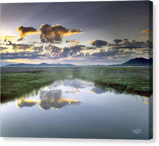 Prairie Sunrises Canvas Print - Camas Marsh by Leland D Howard