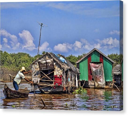 Cambodian Fishing Scene Canvas Print