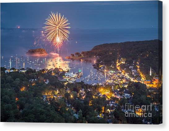 Camden Fireworks From Mount Battie Canvas Print
