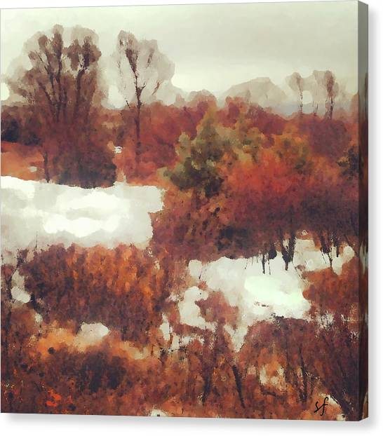 Canvas Print featuring the digital art Came An Early Snow by Shelli Fitzpatrick