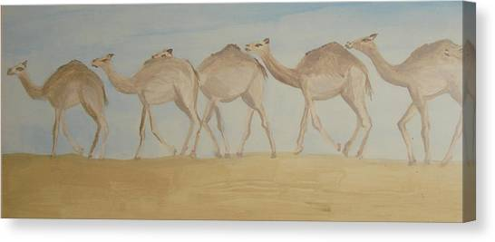 Camel Train Canvas Print by Wendy Peat