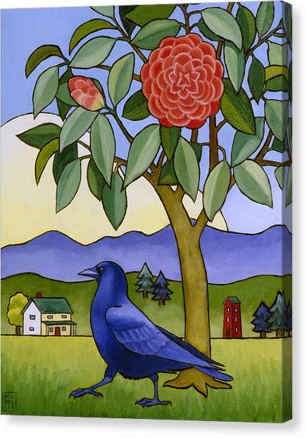 Camellia And Crow Canvas Print