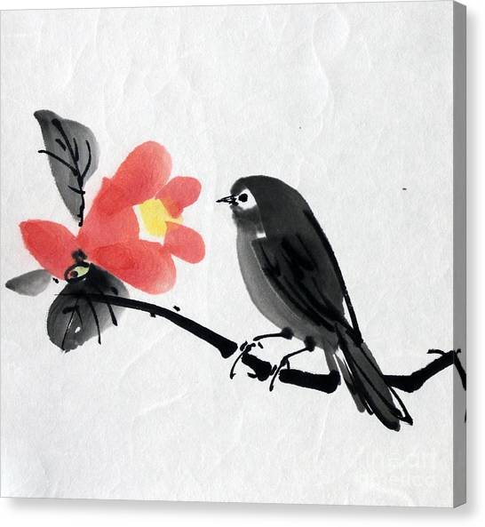 Camellia And A Little Bird Canvas Print