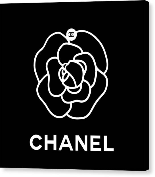 Black And White Canvas Print - Camellia Chanel by Tres Chic