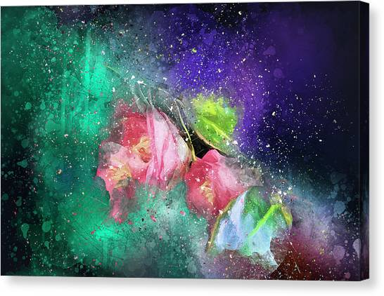 Camellias In A Galaxy Far Far Away Canvas Print