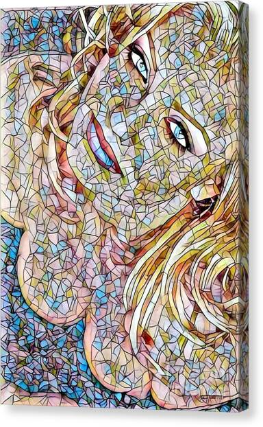 Vegas Golden Knights Canvas Print - Cameron Diaz - Stained Glass by Scott D Van Osdol
