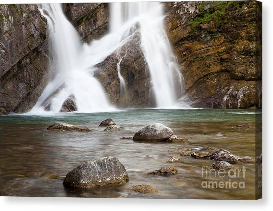 Canvas Print featuring the photograph Cameron Falls In Waterton Lakes National Park by Bryan Mullennix
