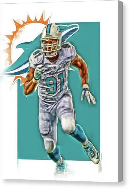 Miami Dolphins Canvas Print - Cameron Wake Miami Dolphins Oil Art by Joe Hamilton