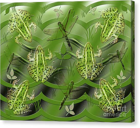Camo Frog Dragonfly Canvas Print