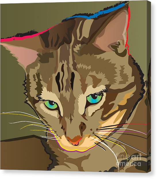 Camouflage Bengal Cat Square Canvas Print