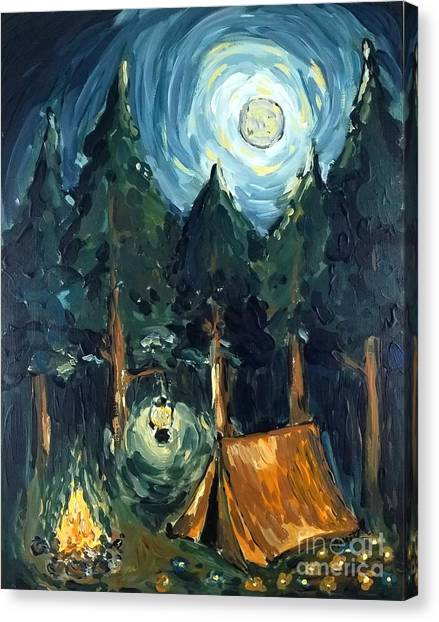 Canvas Print featuring the painting Camp At Night by Maria Langgle