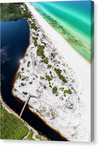 Camp Creek Lake On The Gulf Aerial Canvas Print