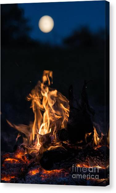 Camp Fire And Full Moon Canvas Print