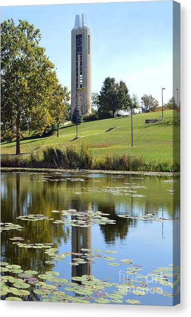 University Of Kansas Canvas Print - Campanile Reflection In Kansas by Catherine Sherman