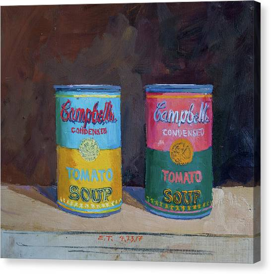 Andy Warhol Canvas Print - Campbell Soup Time by Edward Thomas