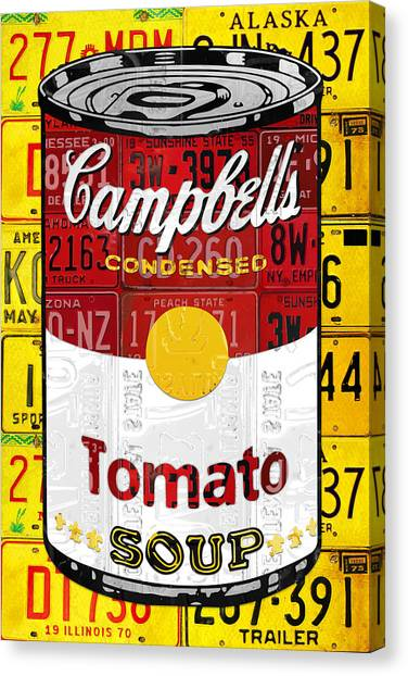 Andy Warhol Canvas Print - Campbells Tomato Soup Can Recycled License Plate Art by Design Turnpike