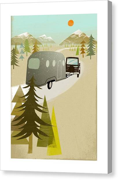 Caravan Canvas Print - Camper Driving Into The Mountains by Gillham Studios