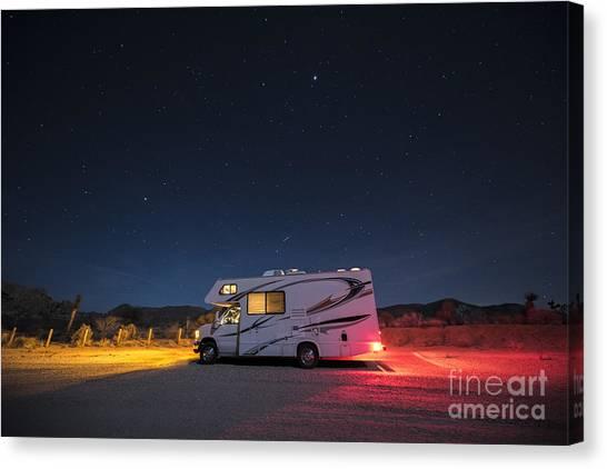 Caravan Canvas Print - Camper Under A Night Sky by Juli Scalzi