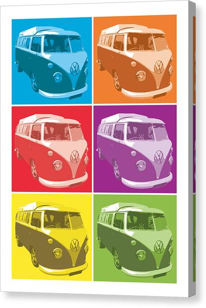 Pop Art Canvas Print - Camper Van Pop Art by Michael Tompsett