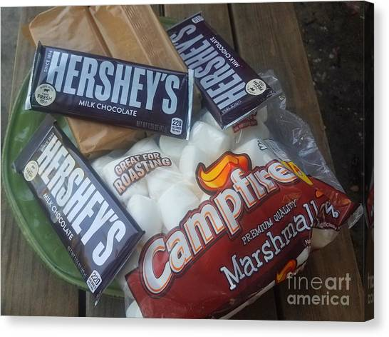 Girl Scouts Canvas Print - Campfire Smores - Outdoor Camping by Scott D Van Osdol