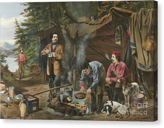 Currier And Ives Canvas Print - Camping In The Woods  A Good Time Coming by Currier and Ives