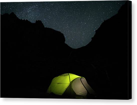Starry Night Canvas Print - Camping Under The Stars by Nicola Aristolao