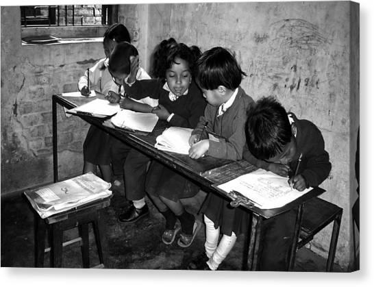 Schools Canvas Print - Can You Help Me Please ... by Yvette Depaepe