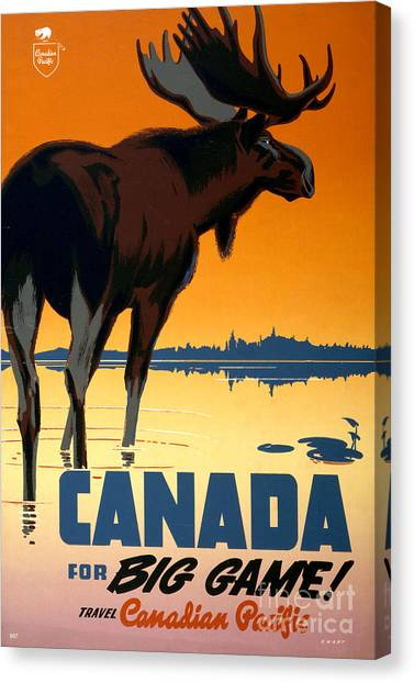 Canada Big Game Vintage Travel Poster Restored Canvas Print