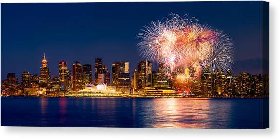 Vancouver Skyline Canvas Print - Canada Day 2015 In Vancouver by Alexis Birkill