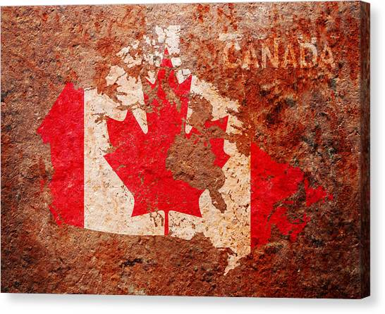 Canada Canvas Print - Canada Flag Map by Michael Tompsett